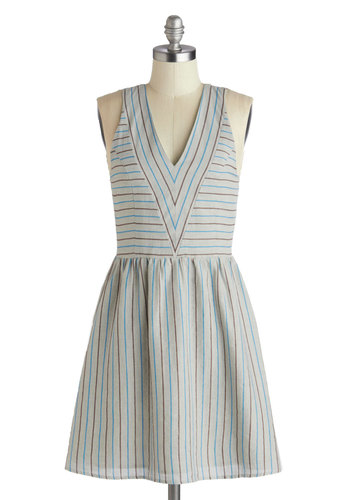 Fare V Well Dress by Dear Creatures - Cotton, Mid-length, Grey, Blue, Brown, Stripes, Bows, Cutout, Casual, A-line, Sleeveless, V Neck, Daytime Party, Summer