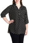 Pam Breeze-ly Tunic in Black Dots - Plus Size - Black, White, Polka Dots, Buttons, Pockets, Work, Casual, Button Down, 3/4 Sleeve, Variation, Collared, Basic, Exclusives, Tab Sleeve