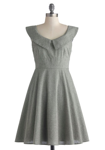 Business Lunch Break Dress by Myrtlewood - Mid-length, Grey, Solid, Peter Pan Collar, Work, A-line, Sleeveless, Scoop, Exclusives, Private Label