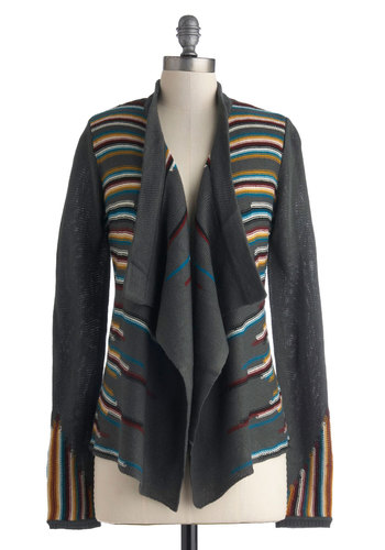 Evenings on the Road Cardigan by Jack by BB Dakota - Grey, Red, Yellow, Blue, Black, Stripes, Casual, Long Sleeve, Mid-length, Multi, Travel, Fall, Grey, Long Sleeve