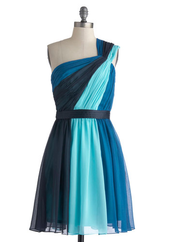 Symphonic Streams Dress by Max and Cleo - Mid-length, Blue, Prom, Cocktail, A-line, One Shoulder, Formal, Wedding, Bridesmaid, Colorblocking