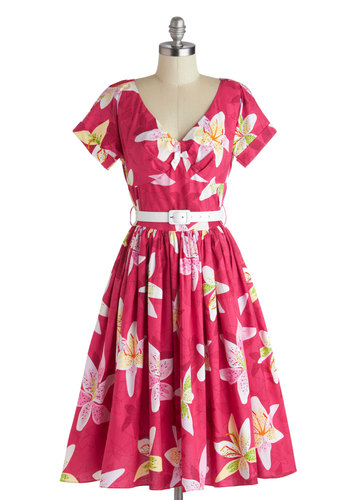 Destination, Dancing Dress in Sunset by Bernie Dexter - Cotton, Long, Pink, Multi, Floral, Belted, A-line, Short Sleeves, V Neck, White, Pockets, Daytime Party, Vintage Inspired, 50s, 60s, Spring, Summer, Variation, Statement
