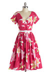 Destination, Dancing Dress in Sunset by Bernie Dexter - Cotton, Long, Pink, Multi, Floral, Belted, A-line, Short Sleeves, V Neck, White, Pockets, Daytime Party, Vintage Inspired, 50s, 60s, Spring, Summer, Variation