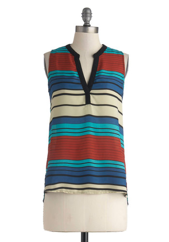 Desert Driving Top - Multi, Blue, Tan / Cream, Black, Stripes, Sleeveless, Mid-length, Casual, Sheer, V Neck, Blue, Sleeveless
