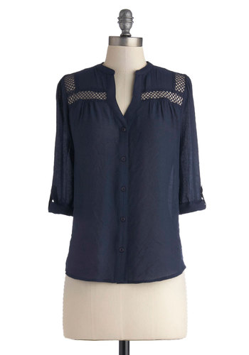 Treat the Parents Top in Navy - Blue, Solid, Buttons, Casual, 3/4 Sleeve, Sheer, Blue, Tab Sleeve, Mid-length