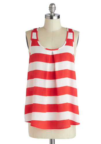 Riverboat Cruise Top - Red, White, Stripes, Casual, Racerback, Mid-length, Nautical, Tent / Trapeze, Summer, Scoop