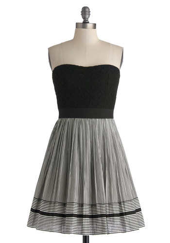 Invite Only Dress - Short, Black, White, Stripes, Lace, Party, Fit & Flare, Strapless, Sweetheart, Twofer