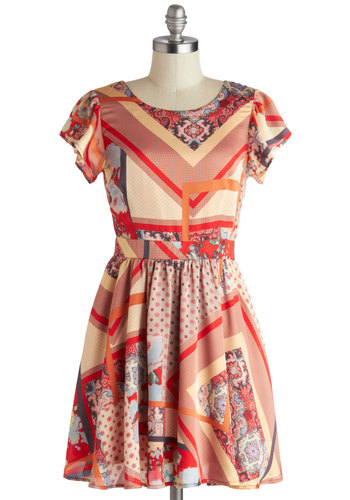 On Collage Dress - Multi, Red, Tan / Cream, Cutout, A-line, Short Sleeves, Crew, Backless, Scallops, Daytime Party, Mid-length, Satin, Woven