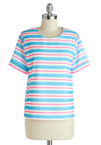 Neon Harmony Top - Mid-length, Blue, Pink, White, Stripes, Casual, Short Sleeves, Blue, Short Sleeve