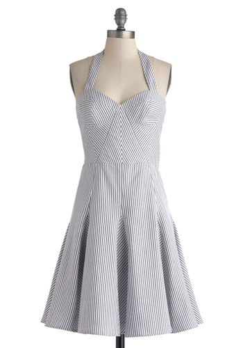 Betsey Johnson Ferris Wheel Date Dress by Betsey Johnson - Mid-length, Cotton, White, Stripes, Casual, A-line, Halter, Sweetheart, Grey, Nautical, Americana