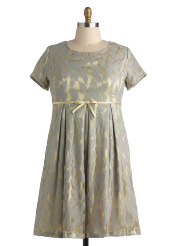 Just That Elegant Dress in Plus Size - Grey, Gold, Print, Bows, Pleats, Party, Empire, Short Sleeves, Cocktail, Holiday Party, Bridesmaid, Luxe, Scoop, Exclusives