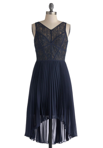 Stage Choreographer Dress - Mid-length, Blue, Solid, Lace, Pleats, Cocktail, High-Low Hem, V Neck, Wedding, Party, Sleeveless, Sheer