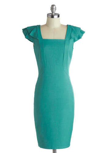 Just Dreaming Dress - Green, Solid, Party, Sheath / Shift, Cap Sleeves, Mid-length, Ruffles, Wedding, Cocktail, Exposed zipper