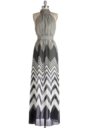 Observation Decked Out Dress - Black, White, Chevron, Party, Maxi, Halter, Long, Chiffon, Sheer, Knit