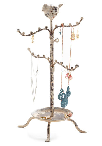 Perch High and Low Jewelry Stand - Cream, Brown, Print with Animals, Good