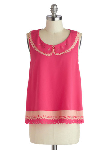 Takes the Cake Design Top - Mid-length, Pink, Solid, Eyelet, Peter Pan Collar, Work, Daytime Party, Vintage Inspired, Sleeveless, Summer, Scoop, Pink, Sleeveless