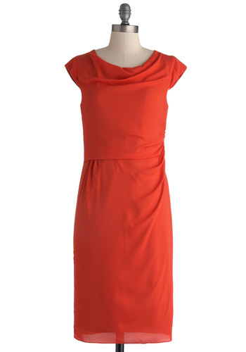 Company Precedent Dress - Red, Solid, Backless, Ruching, Party, Shift, Cap Sleeves, Exposed zipper, Long, Sheer, Woven