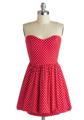 Runway Ticket Dress - Cotton, Short, Red, White, Polka Dots, A-line, Strapless, Sweetheart, Party, Summer