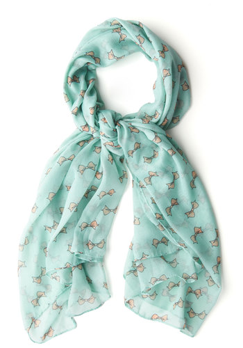 Be in the Present Scarf - Mint, Pink, Pastel, Novelty Print, Bows, Sheer