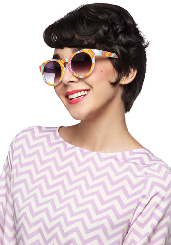 Block Party Girl Sunglasses - Multi, Beach/Resort, Summer, Chevron, Polka Dots