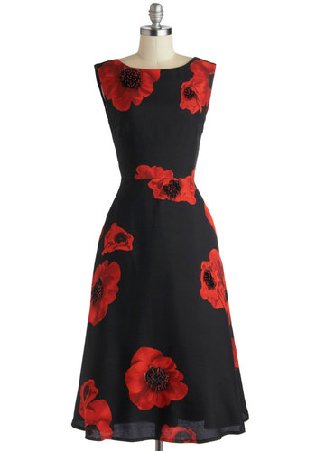 Tracy Reese Sophisticated Ambiance Dress by Tracy Reese - Black, Red, Floral, Cocktail, A-line, Sleeveless, Boat, Beads, Best, Long, Woven, Statement, Special Occasion, Party