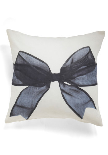 Present in the Moment Pillow - White, Black, Bows, Better