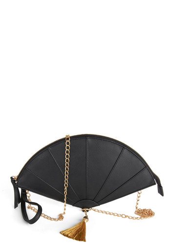 Fashion Fan Club Clutch - Black, Gold, Solid, Wedding, Cocktail, Vintage Inspired, Statement