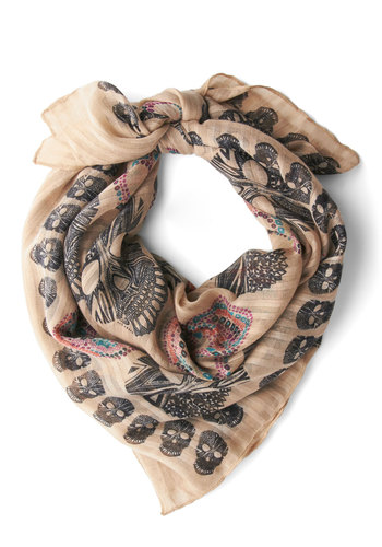 Head for the Hills Scarf - Sheer, Cream, Multi, Black, Novelty Print, Halloween, Top Rated