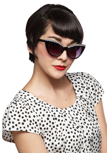 Shade Masquerade Sunglasses - Black, White, Solid, Pearls, Trim, Mid-Century, Summer, Halloween