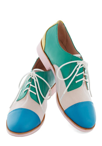 Rachel Antonoff for Bass Are You Game? Flat by Bass - Multi, Solid, Menswear Inspired, Colorblocking, Lace Up, Green, Best, Low