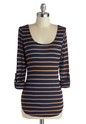 Know Your Neighbors Top - Blue, Stripes, Bows, Mid-length, Tan / Cream, Cutout, Casual, 3/4 Sleeve, Scoop, Fall