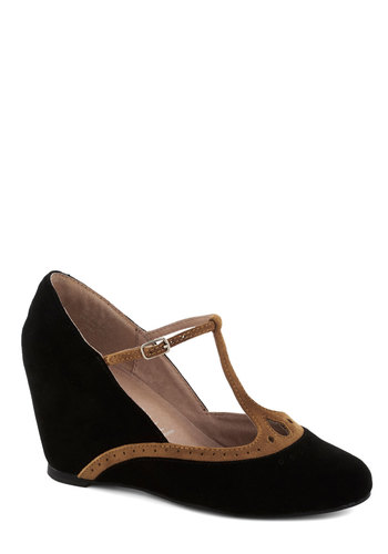 Coalescence of Classy Heel by Jeffrey Campbell - Black, Tan / Cream, Solid, Wedge, Mid, Best, Party, Work, T-Strap