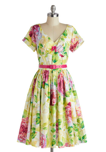 Destination, Dancing Dress in Peony by Bernie Dexter - Cotton, Long, Yellow, Green, Pink, Floral, Bows, Belted, Daytime Party, A-line, Short Sleeves, V Neck, Multi, Pockets, Vintage Inspired, 50s, 60s, Spring, Summer, Variation, Statement