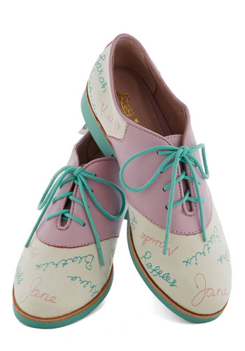 Rachel Antonoff for Bass Year After Yearbook Flat by Bass - Low, Leather, Multi, Menswear Inspired, Pastel, Best, Lace Up, Blue, Pink, White, Novelty Print, Casual, Variation