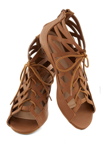 Strappy to See You Sandal - Tan, Solid, Cutout, Low, Wedge, Lace Up, Boho, Good, Casual, Faux Leather, Strappy