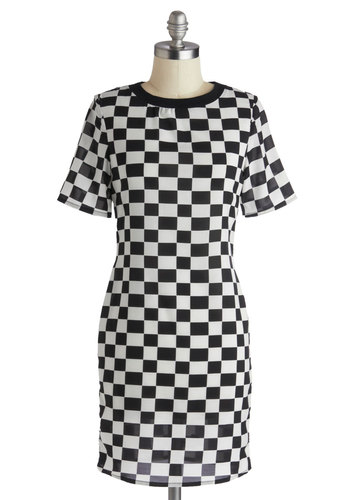 By My Sidecar Dress - Chiffon, Sheer, Mid-length, Black, White, Checkered / Gingham, Casual, Shift, Short Sleeves, Crew