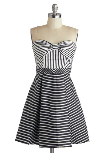 Line Recitation Dress - Cotton, Short, Black, White, Stripes, Party, A-line, Strapless, Sweetheart, Bows, Girls Night Out, Summer