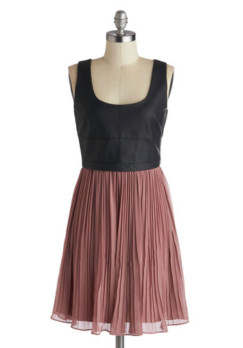 Easy If You Twilight Dress by Jack by BB Dakota - Faux Leather, Mid-length, Pink, Black, Party, A-line, Tank top (2 thick straps), Scoop, Pleats, Urban