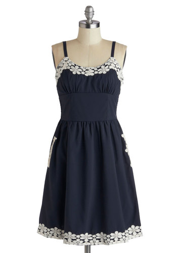 Appliques Now Accepted Dress in Navy - Mid-length, Blue, White, Crochet, Pockets, Casual, A-line, Spaghetti Straps, Scoop, Solid, Trim, Summer, Variation