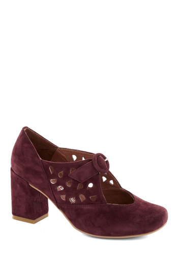 Raspberry Jam Heel by Jeffrey Campbell - Purple, Solid, Cutout, Suede, Mid, Leather, Best, Work, Chunky heel