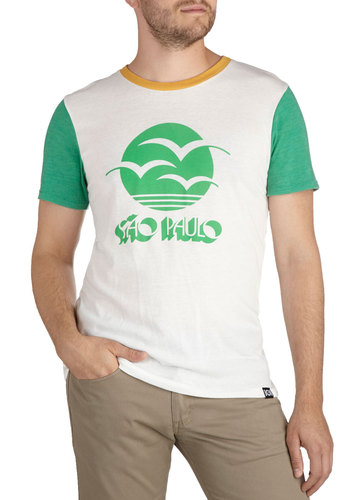 Brazil-lion Reasons Men's Tee - Mid-length, White, Green, Casual, Short Sleeves, Cotton, Crew
