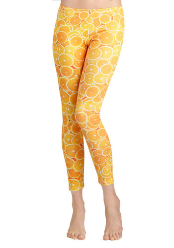 Zest Friend Leggings - Yellow, Novelty Print, Casual, Fruits, Skinny, Summer, Statement