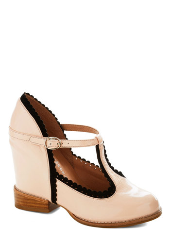 Life of the Party Planner Wedge by Jeffrey Campbell - Pink, Black, Solid, Scallops, Trim, Wedge, High, Leather, Best, Party, Work, Pastel, Scholastic/Collegiate, Mary Jane