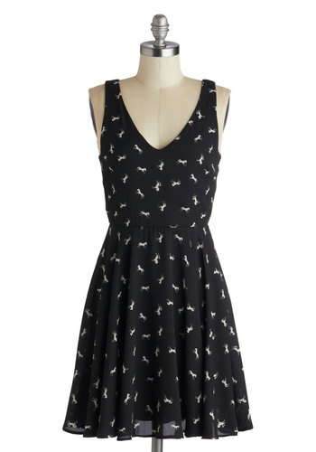 On the Gallop and Up Dress in Black - Print with Animals, Mid-length, White, Casual, A-line, Tank top (2 thick straps), V Neck, Black, Variation