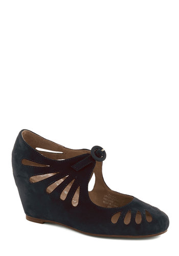 Delightful Droplets Wedge in Navy by Jeffrey Campbell - Blue, Solid, Cutout, Wedge, Best, Mid, Party, Work, Vintage Inspired, Leather, Suede, Fall