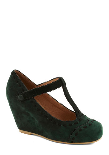 Hopes and Seams Wedge by Jeffrey Campbell - Green, Black, Solid, Trim, Suede, Wedge, Best, Work, Scholastic/Collegiate, Leather, Fall, T-Strap