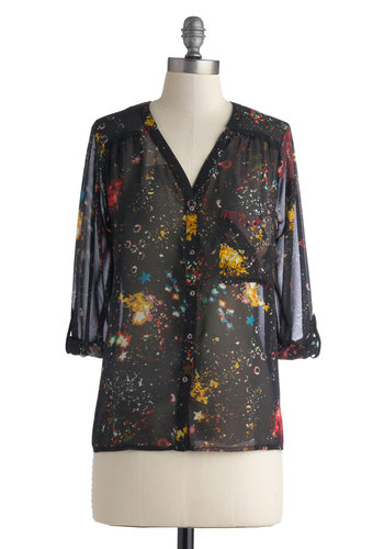 Lane Down Rhythms Top - Chiffon, Sheer, Mid-length, Black, Multi, Print, Buttons, Pockets, Casual, 3/4 Sleeve, Press Placement, Black, Tab Sleeve