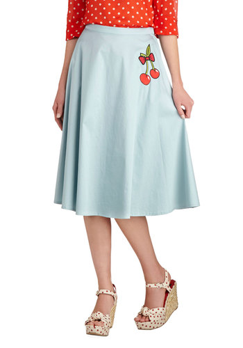 A Very Cherry Melody Skirt - Blue, Solid, Embroidery, Daytime Party, Rockabilly, Vintage Inspired, Fruits, Pastel, A-line, 50s, Cotton, Woven, Mid-length, Blue