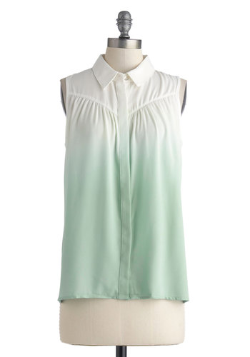 Make Mine Mint Top - Chiffon, Sheer, Mid-length, Mint, White, Ombre, Buttons, Sleeveless, Collared, Pastel, Ruching, Casual, Button Down, Spring, Summer