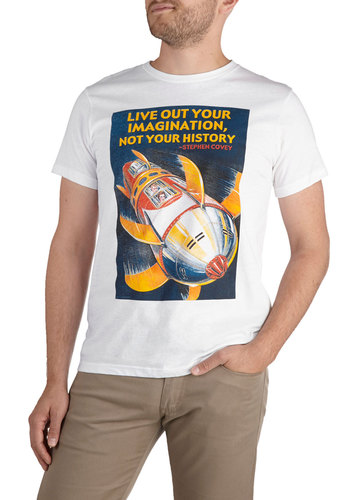 Blast from the Past Tee - Mid-length, White, Red, Blue, Short Sleeves, Yellow, Novelty Print, Vintage Inspired, Cotton, Crew